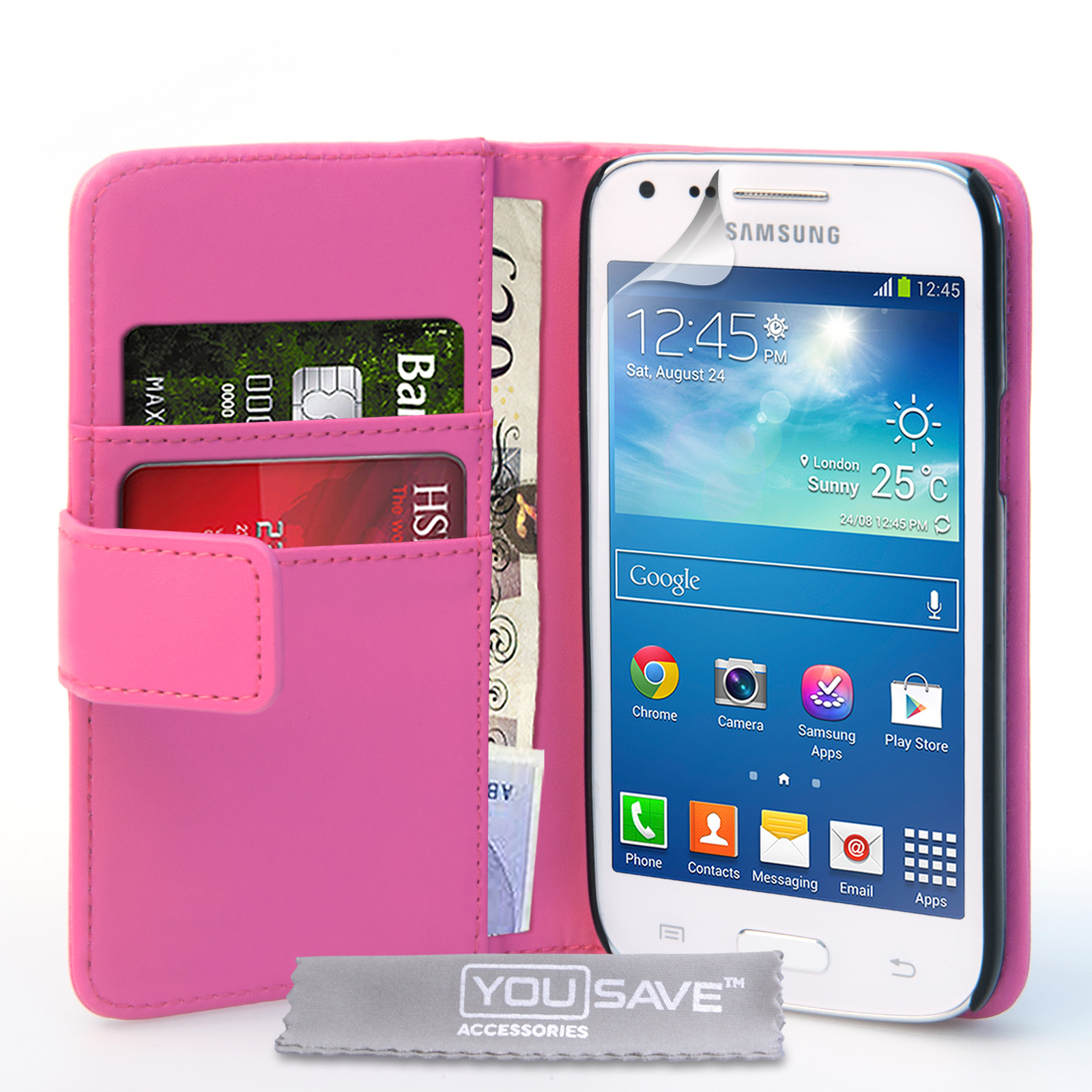 YouSave Samsung Galaxy Core Plus Leather-Effect Wallet Case - Hot Pink
