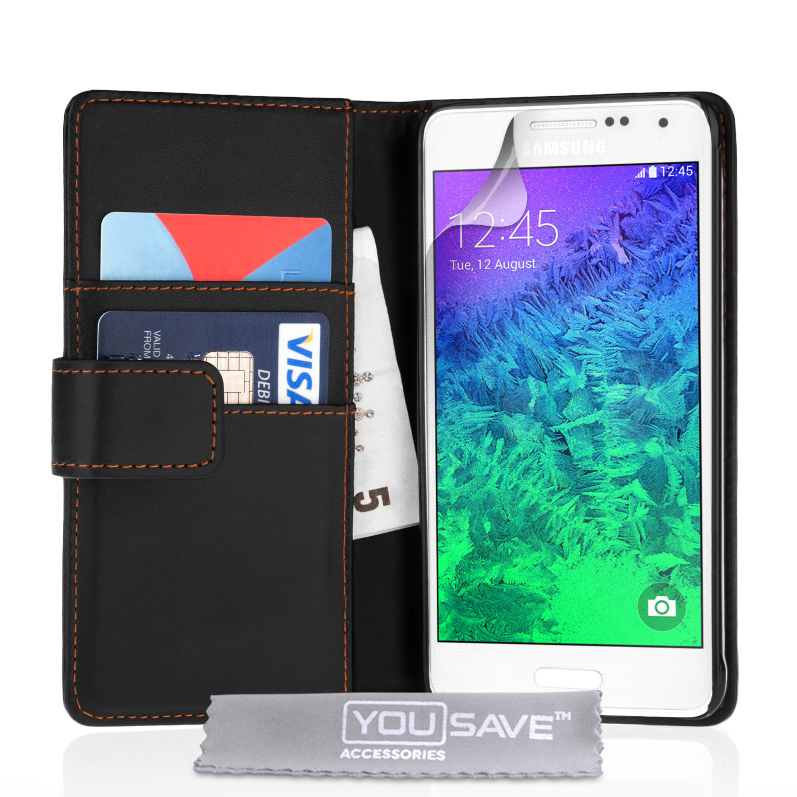 YouSave Samsung Galaxy Alpha Leather-Effect Wallet Case - Black