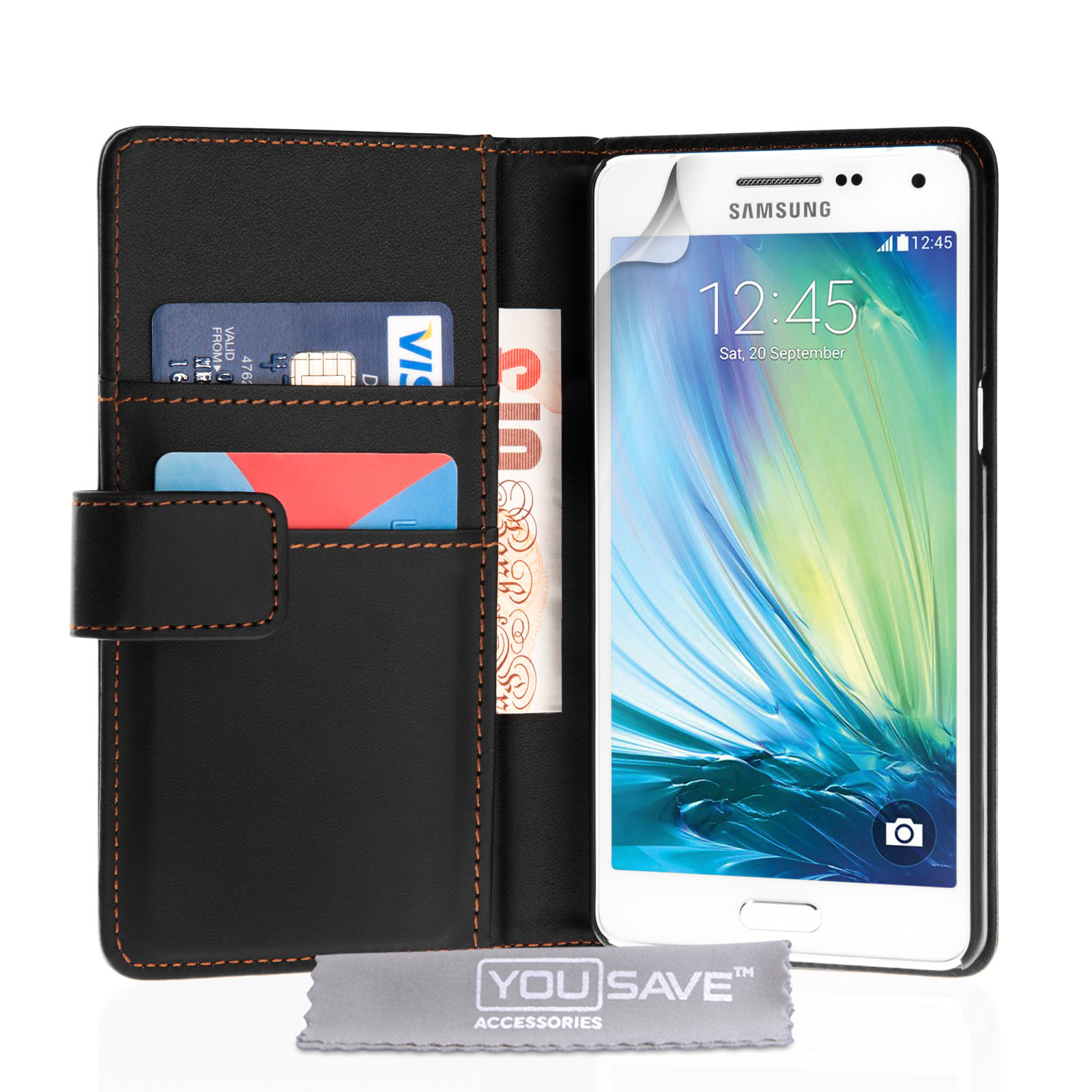 YouSave Samsung Galaxy A5 Leather-Effect Wallet Case - Black