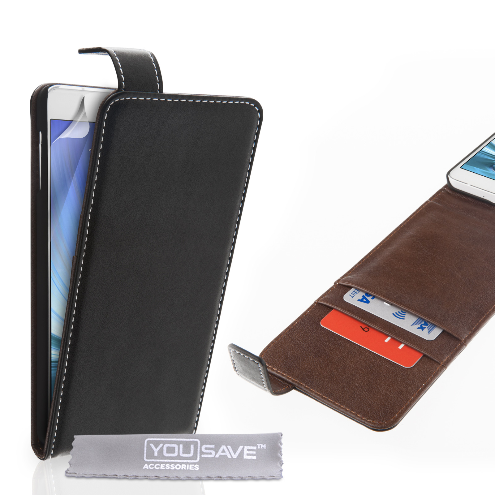 YouSave Samsung Galaxy A7 Leather-Effect Flip Case with Slots – Black