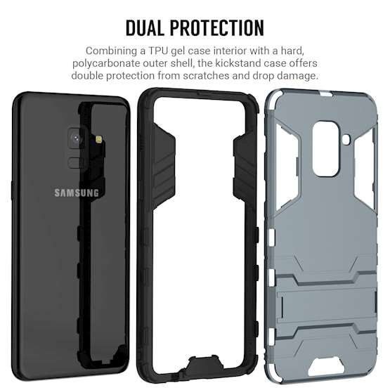 Caseflex Samsung Galaxy A8 (2018) Armour Kickstand Case - Steel Blue