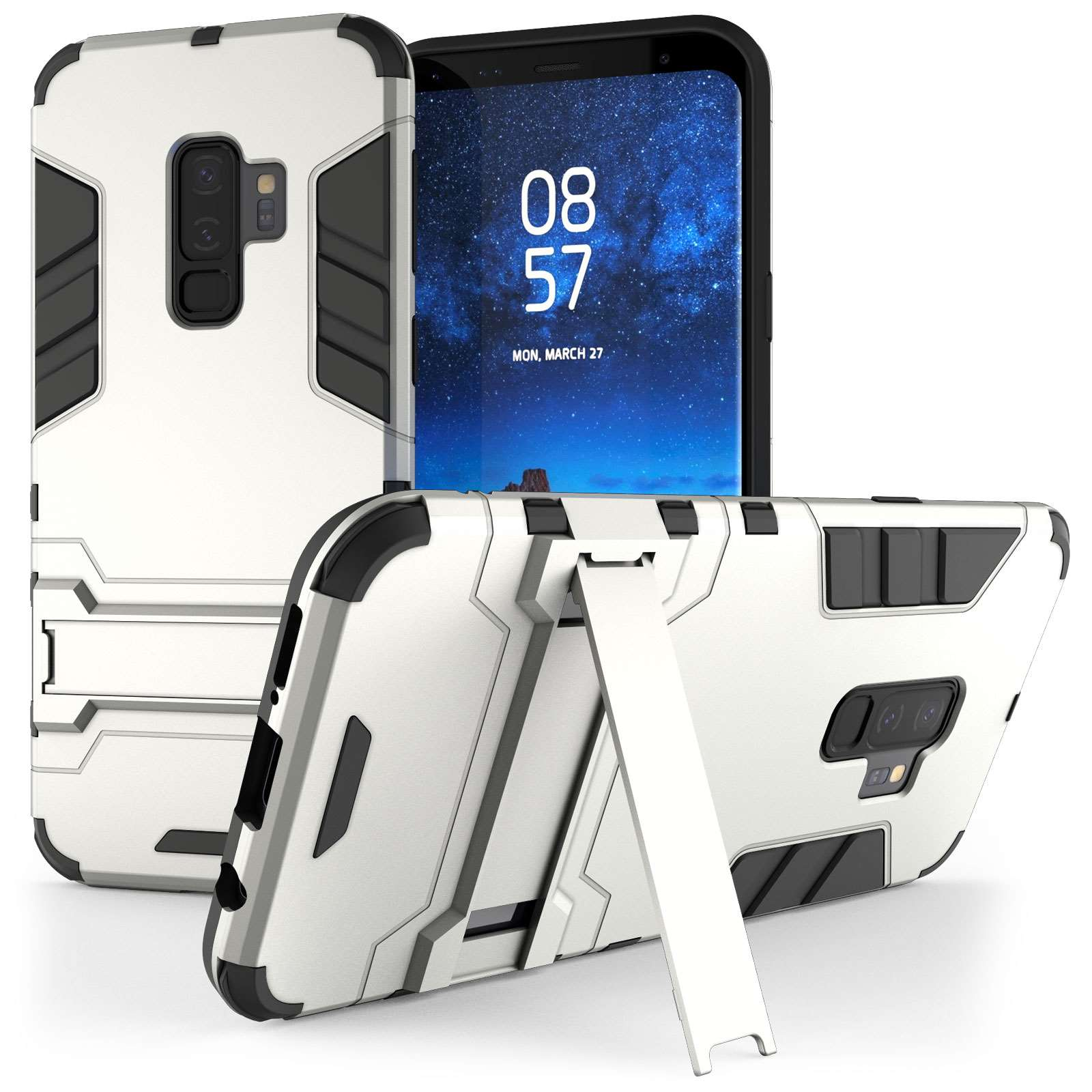 separation shoes 1af2b 56271 Caseflex Samsung Galaxy S9 Plus Armour Kickstand Case - Silver