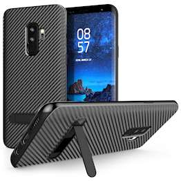 Samsung Galaxy S9 Plus Ultra Thin Slim Carbon Fibre TPU With Stand - Black