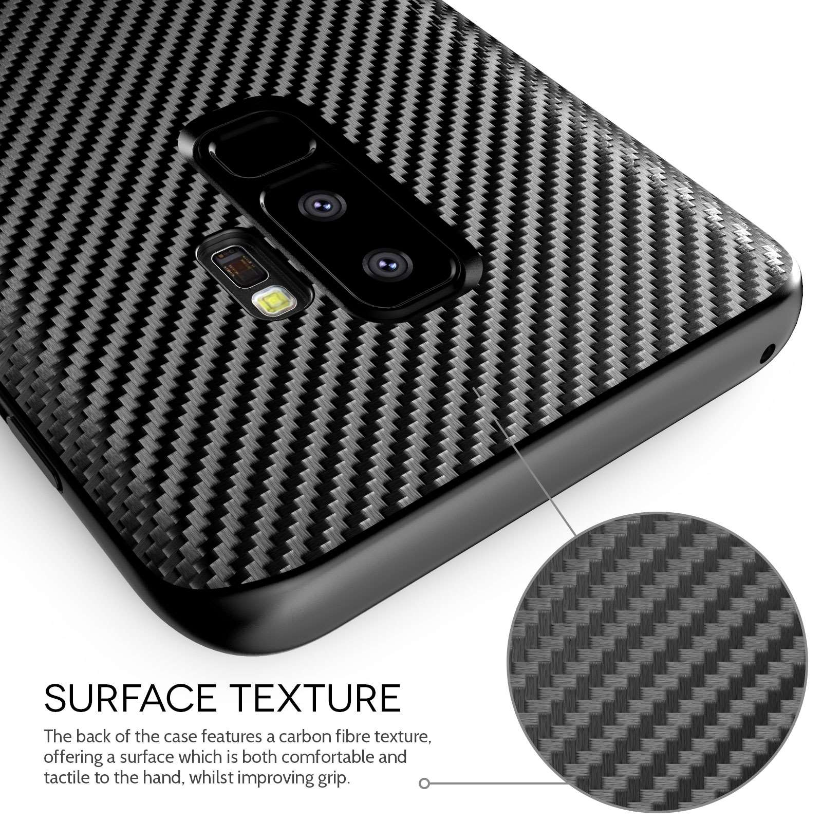 buy online 64a52 fa18f Samsung Galaxy S9 Plus Carbon Fibre TPU Gel Case With Stand - Black