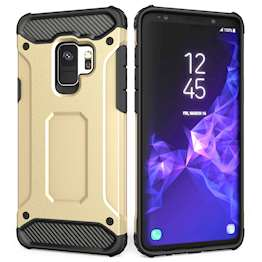 Caseflex Samsung Galaxy S9 Armoured Shockproof Carbon Case - Gold