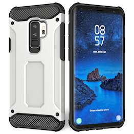 Caseflex Samsung Galaxy S9 Plus Armoured Shockproof Carbon Case - Gun Grey