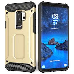 Caseflex Samsung Galaxy S9 Plus Armoured Shockproof Carbon Case - Gold