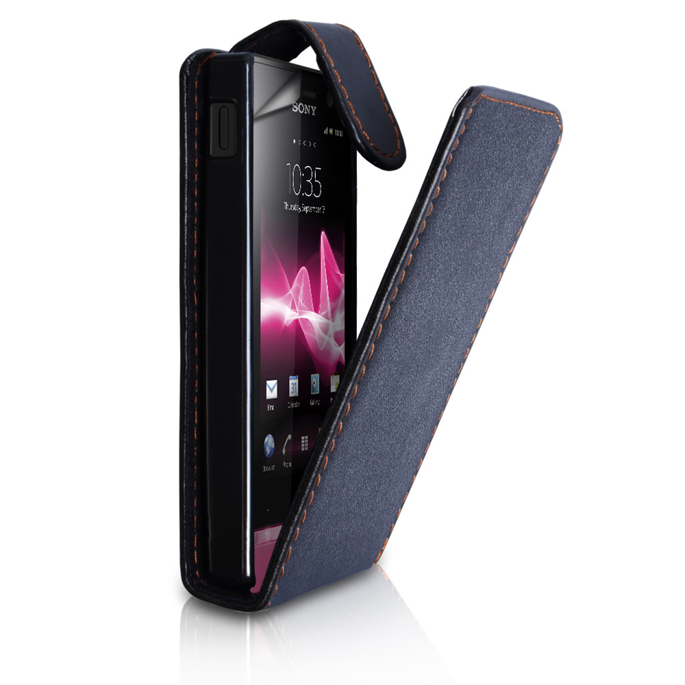 Sony Xperia U Black Leather Flip Case