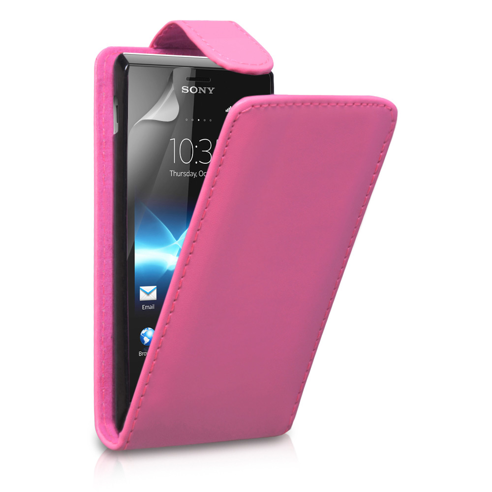 YouSave Accessories Sony Xperia J Leather Effect Flip Case - Hot Pink