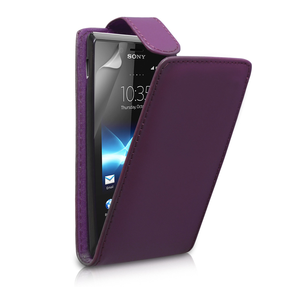 YouSave Accessories Sony Xperia J Leather Effect Flip Case - Purple