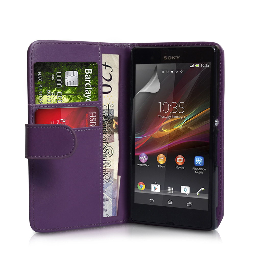 YouSave Accessories Sony Xperia Z Leather Effect Wallet Case - Purple