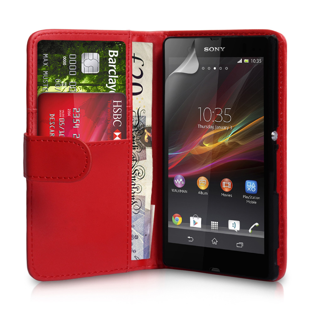 YouSave Accessories Sony Xperia Z Leather Effect Wallet Case - Red