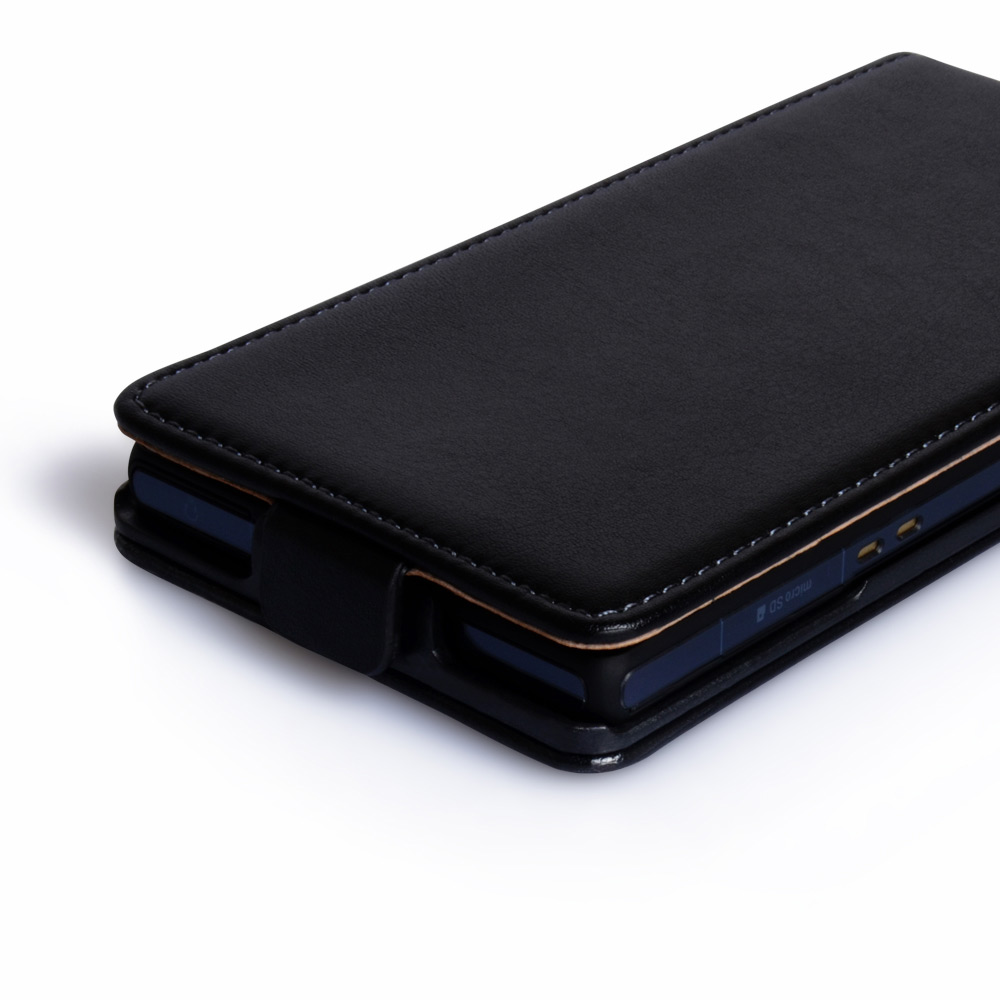 YouSave Accessories Sony Xperia Z Real Leather Flip Case - Black