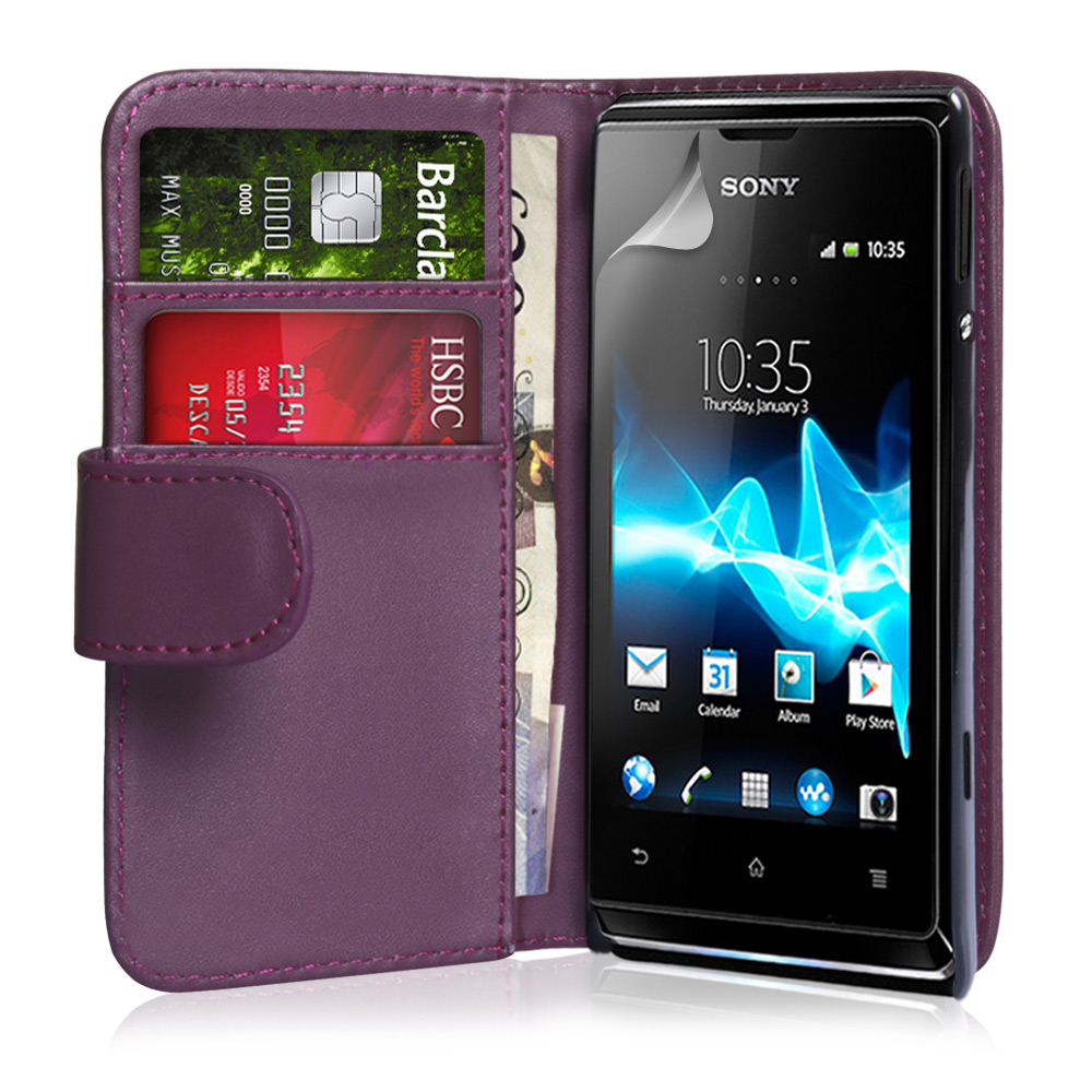 YouSave Accessories Sony Xperia E Leather Effect Wallet Case - Purple