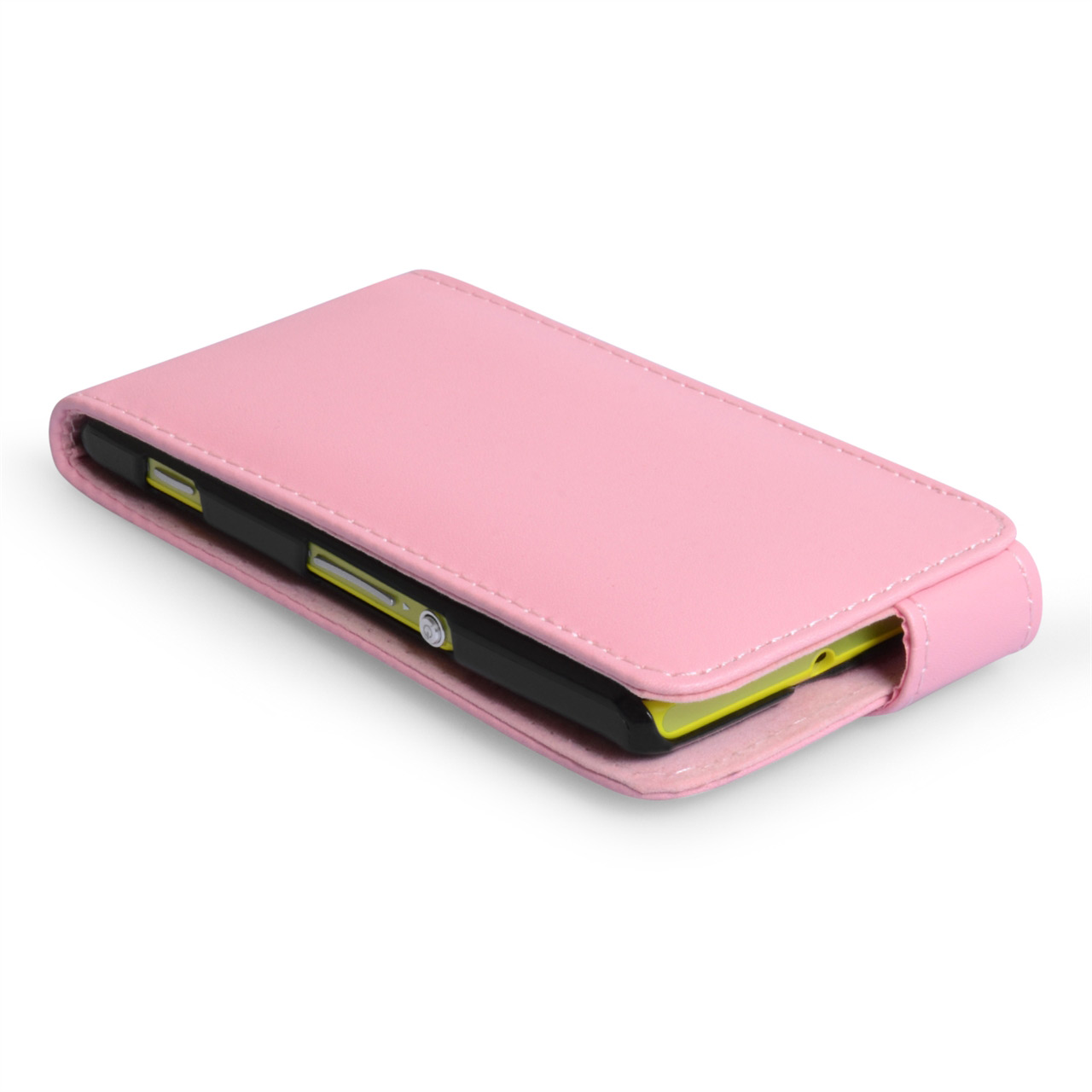 YouSave Accessories Sony Xperia M Baby Pink Leather Effect Flip Case