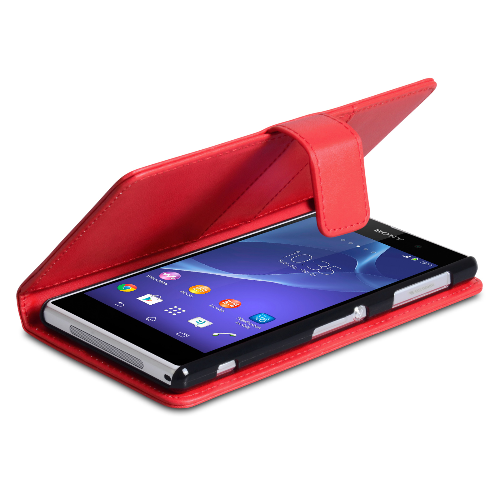 1d407039ad4a YouSave Accessories Sony Xperia Z2 Leather-Effect Wallet Case - Red