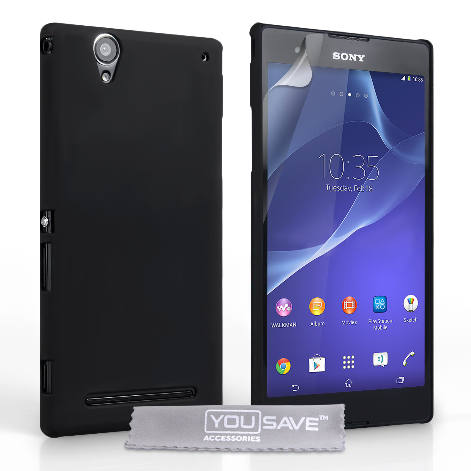 YouSave Accessories Sony Xperia T2 Ultra Hard Hybrid Case - Black