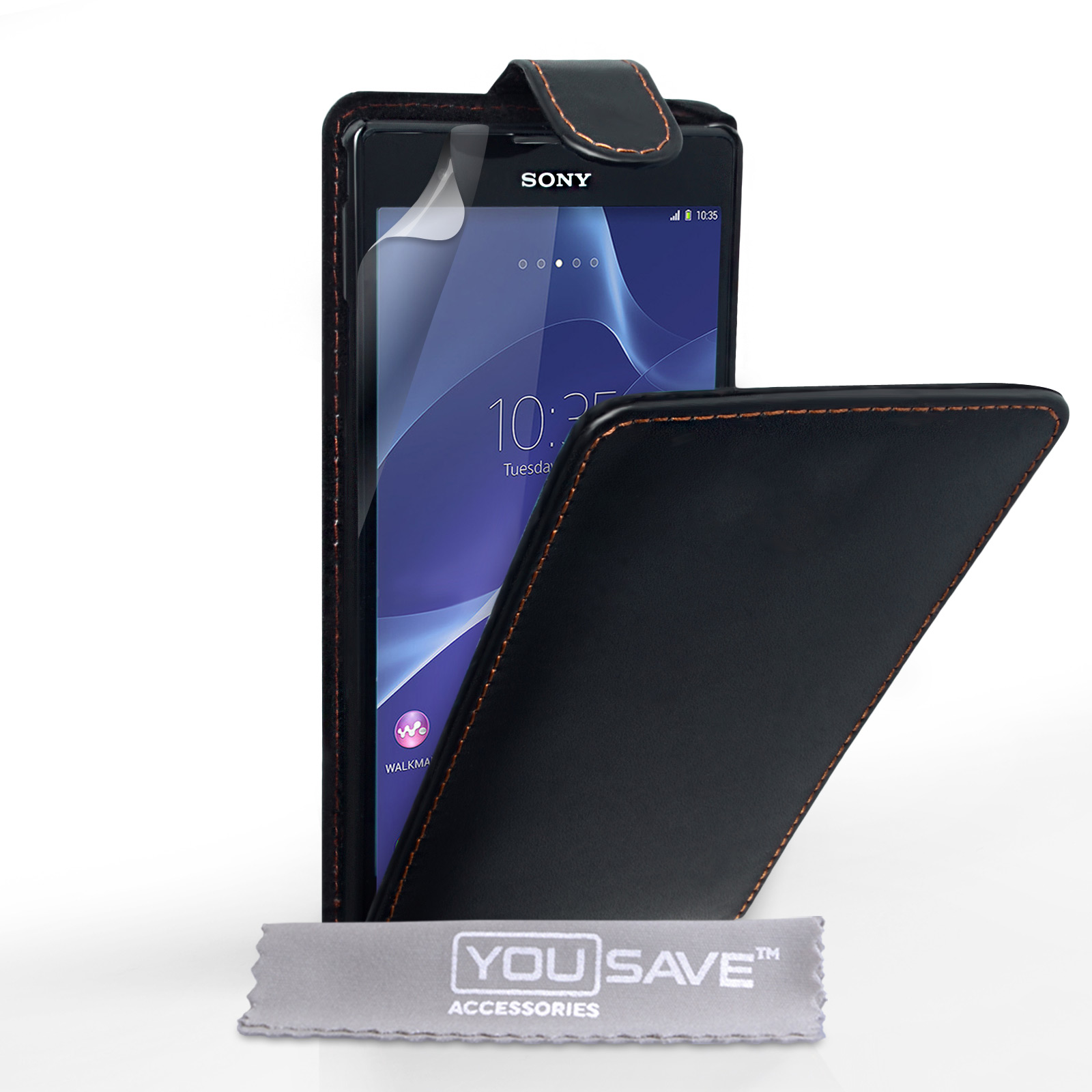 YouSave Sony Xperia T2 Ultra Leather-Effect Flip Case - Black