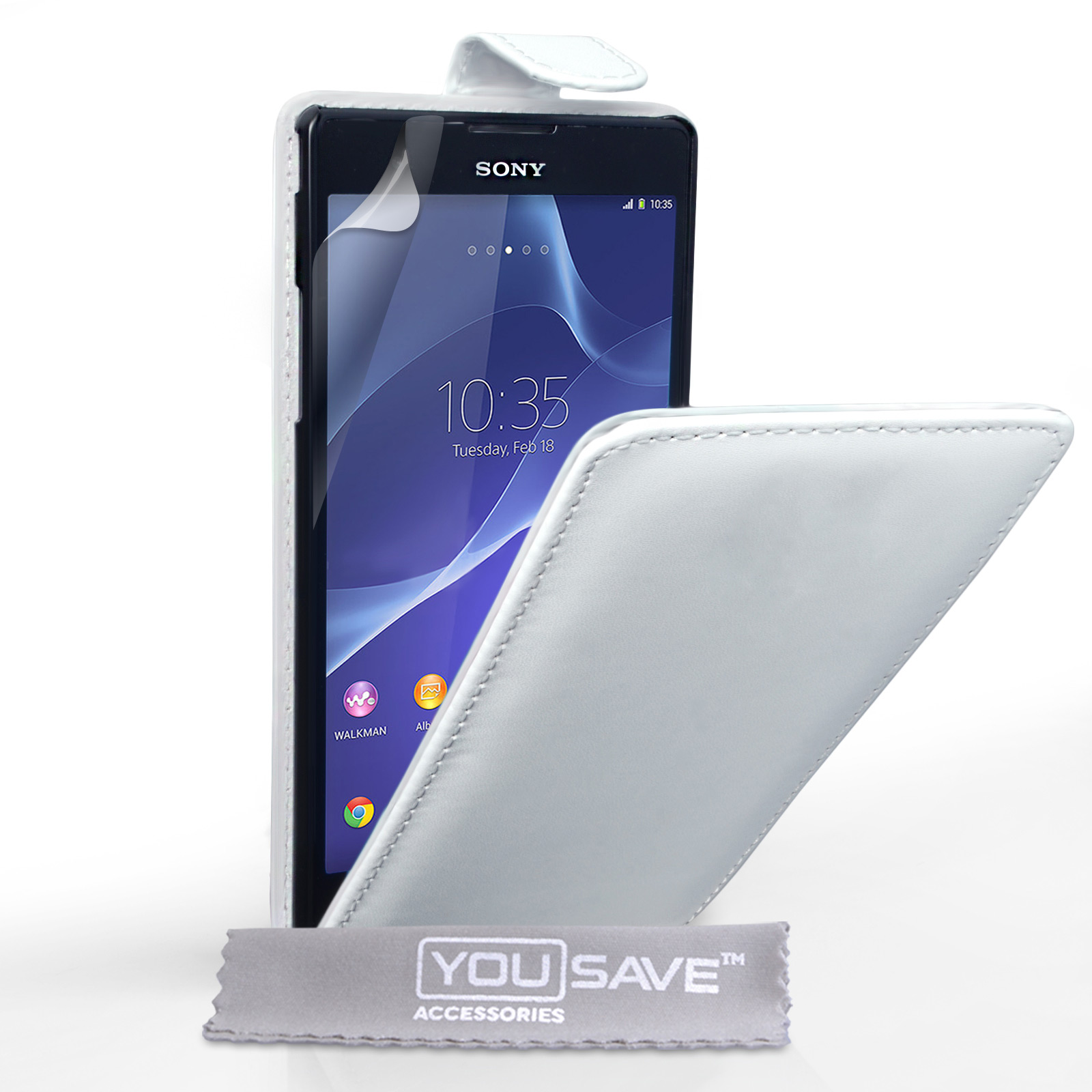 YouSave Sony Xperia T2 Ultra Leather-Effect Flip Case - White