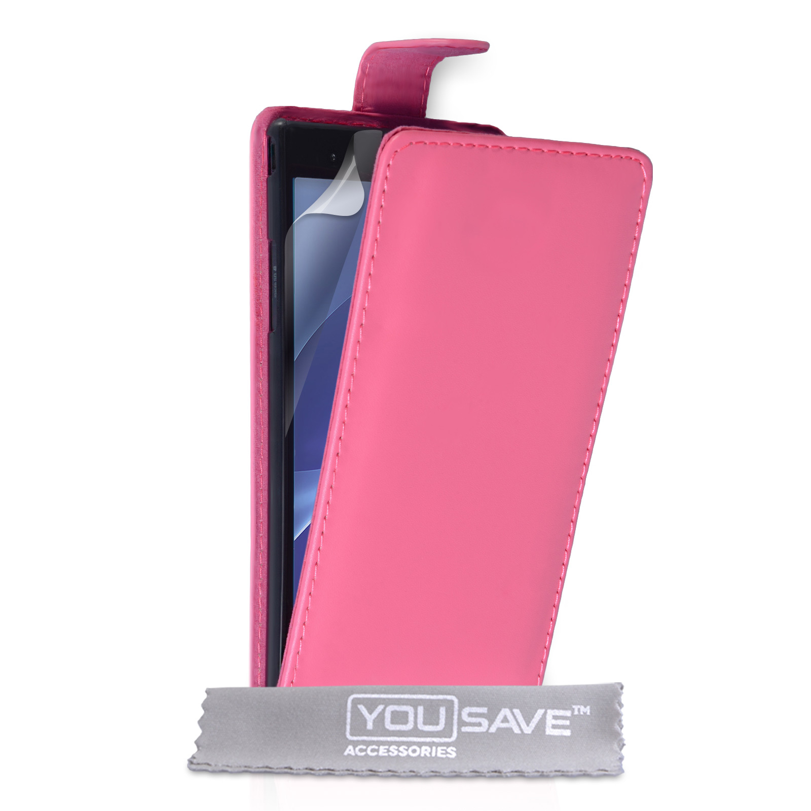 YouSave Sony Xperia T2 Ultra Leather-Effect Flip Case - Hot Pink