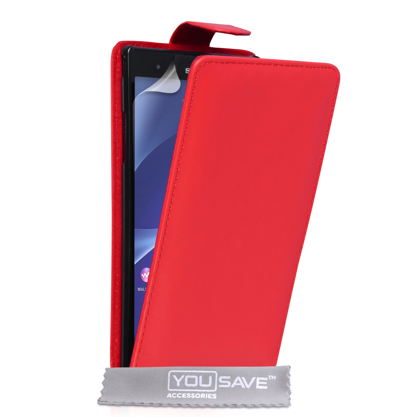 YouSave Sony Xperia T2 Ultra Leather-Effect Flip Case - Red