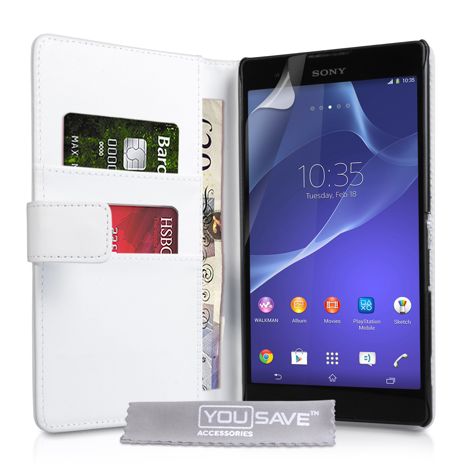YouSave Sony Xperia T2 Ultra Leather-Effect Wallet Case - White