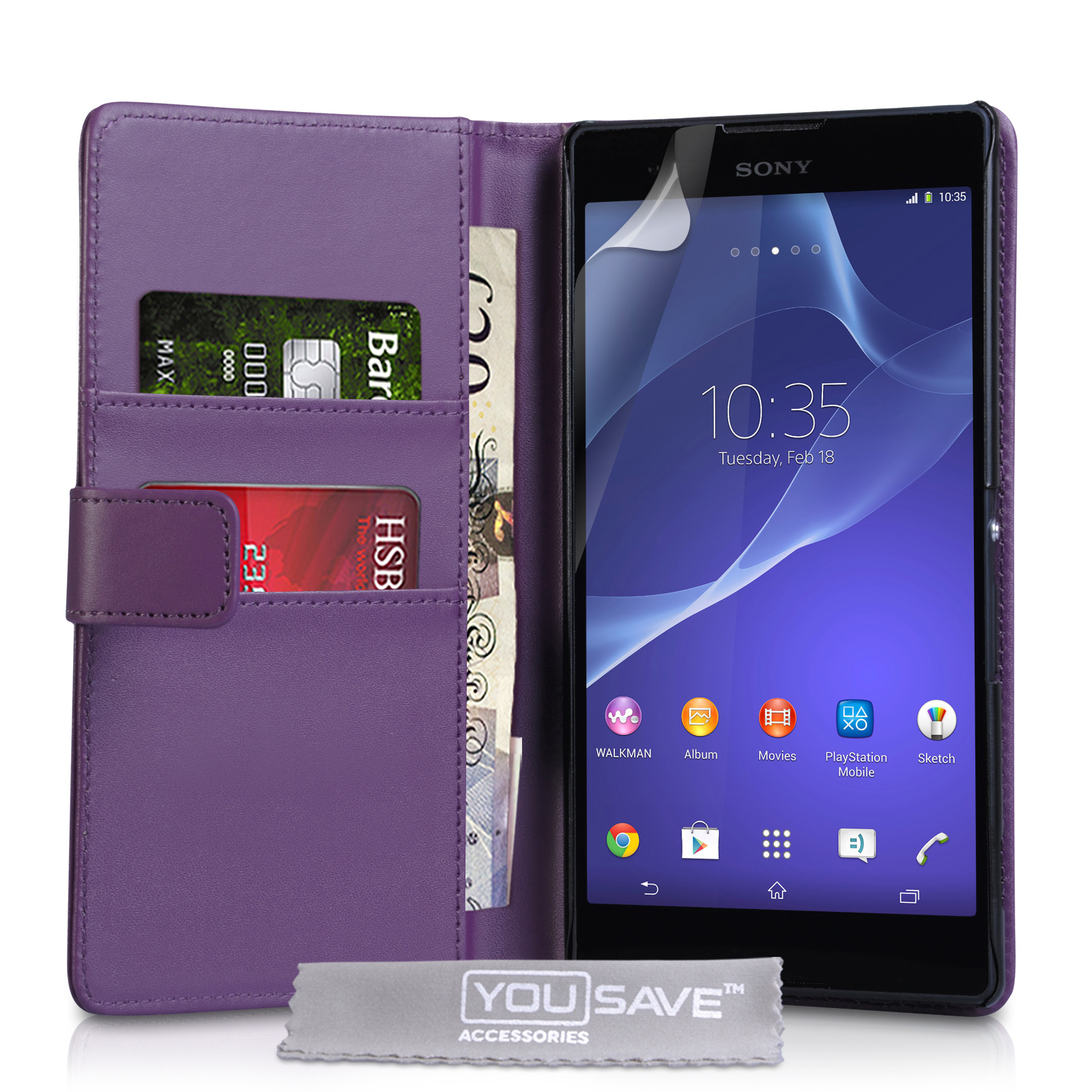 YouSave Sony Xperia T2 Ultra Leather-Effect Wallet Case - Purple