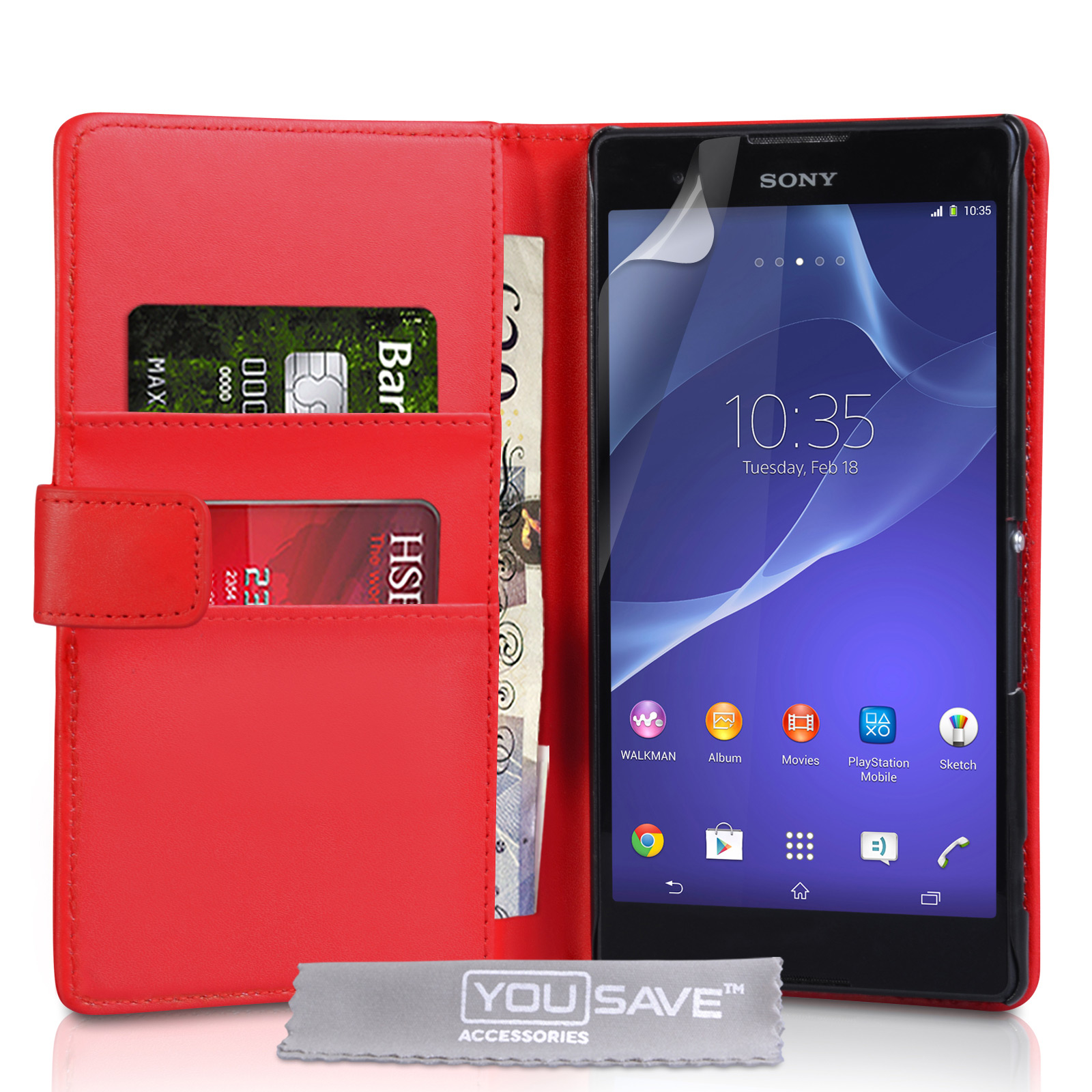 YouSave Sony Xperia T2 Ultra Leather-Effect Wallet Case - Red