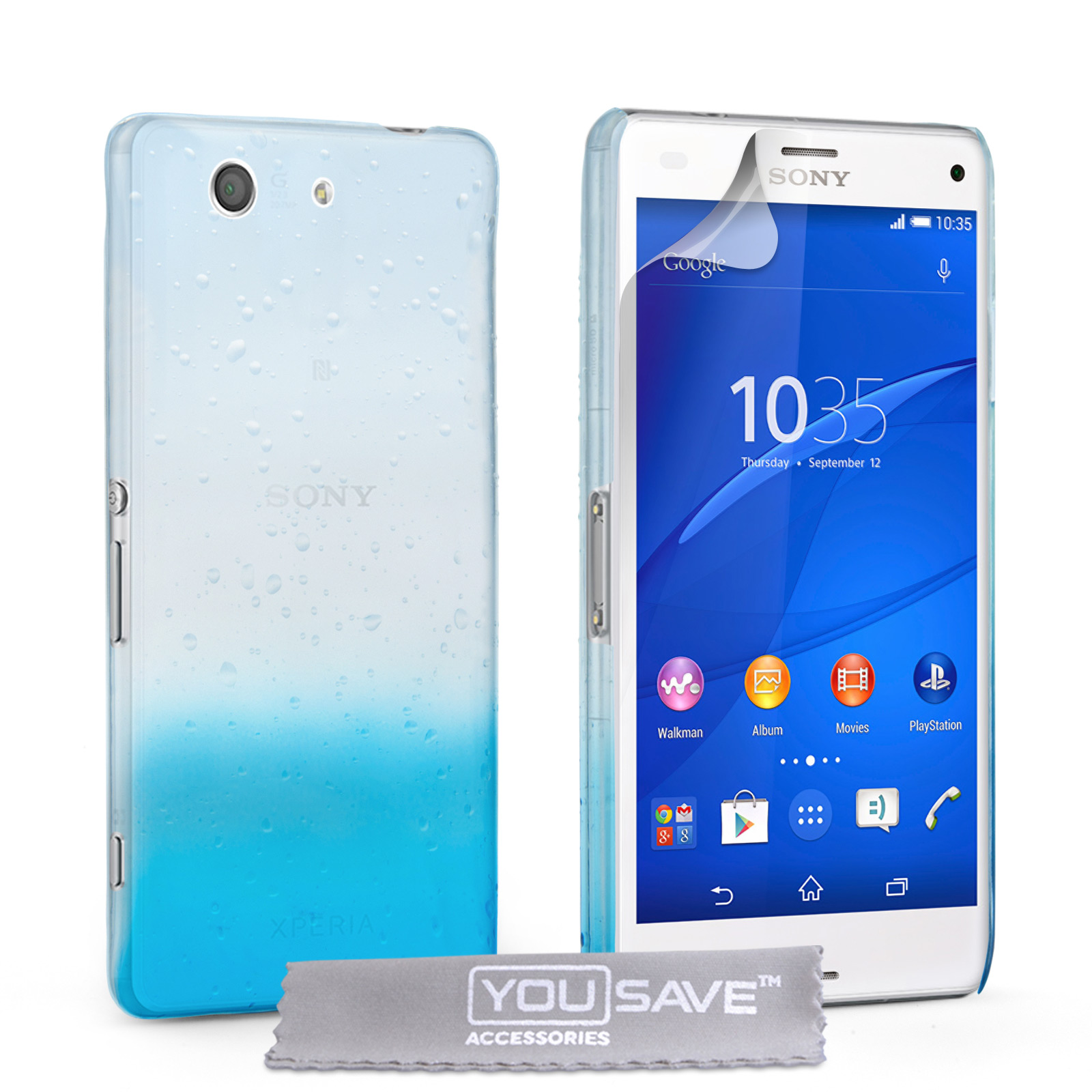 YouSave Sony Xperia Z3 Compact Raindrop Hard Case - Blue-Clear