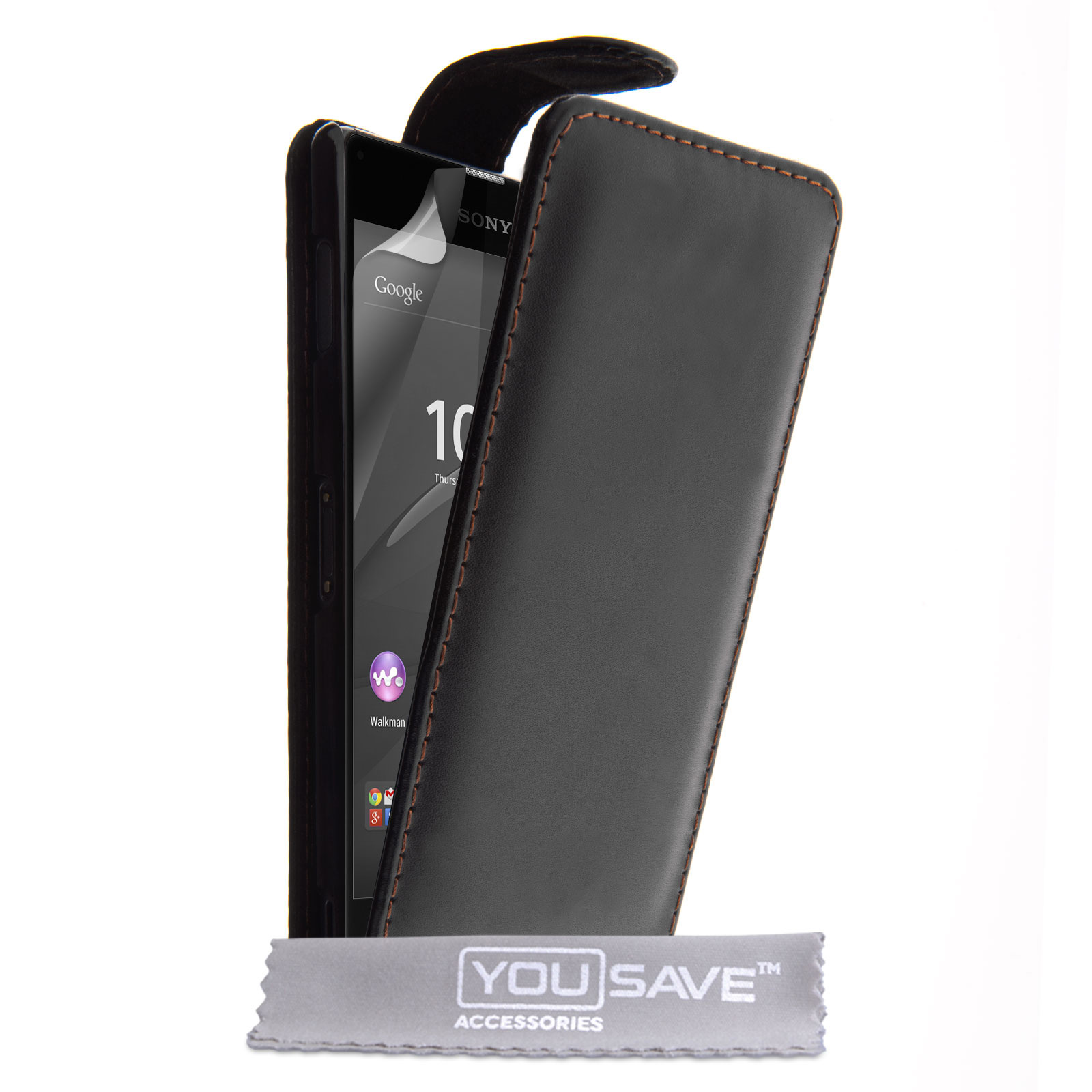YouSave Sony Xperia Z3+ Leather-Effect Flip Case - Black