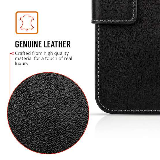 Sony Xperia L2 Real Leather Wallet - Black