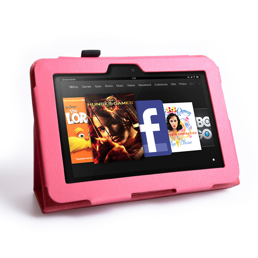 Caseflex Kindle Fire HD Textured Faux Leather Stand Case - Hot Pink