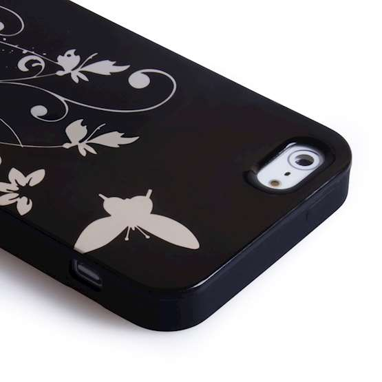 iPhone 5 Butterfly Gel Case - Black / Silver