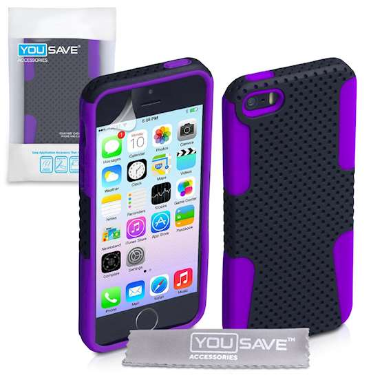 Yousave Accessories iPhone 5 and 5s Mesh Combo Case - Purple