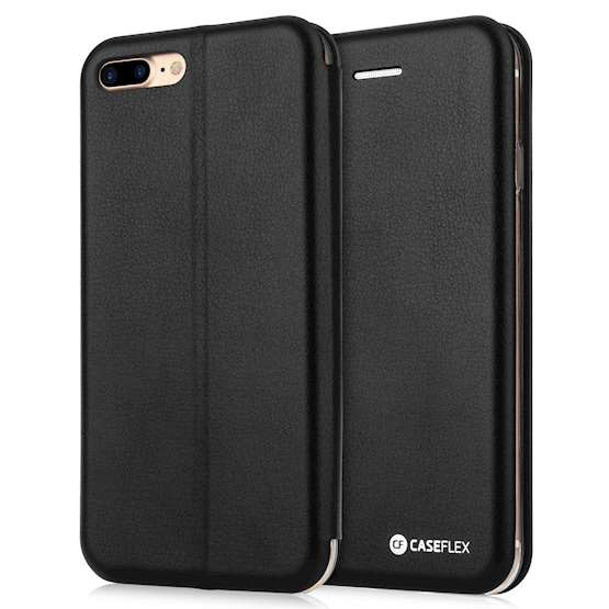 Caseflex iPhone 7 Plus PU Leather Stand Wallet with Felt Lining/ID Slots - Black
