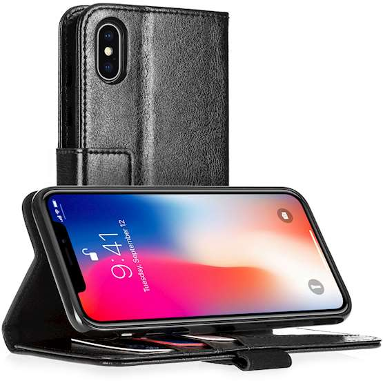 Apple iPhone 8 Real Leather Wallet - Black