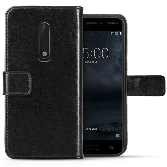 NOKIA 5 ID REAL LEATHER WALLET - BLACK