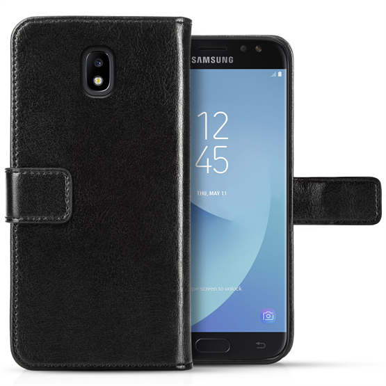 SAMSUNG GALAXY J3 (2017) ID REAL LEATHER WALLET - BLACK
