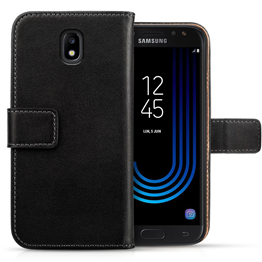 SAMSUNG GALAXY J5 (2017) REAL LEATHER WALLET - BLACK