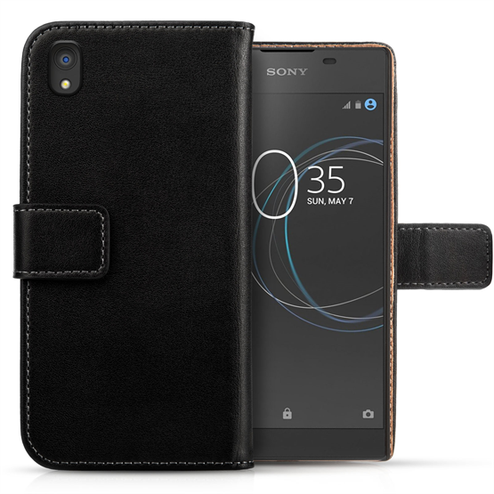 SONY XPERIA L1 REAL LEATHER WALLET - BLACK