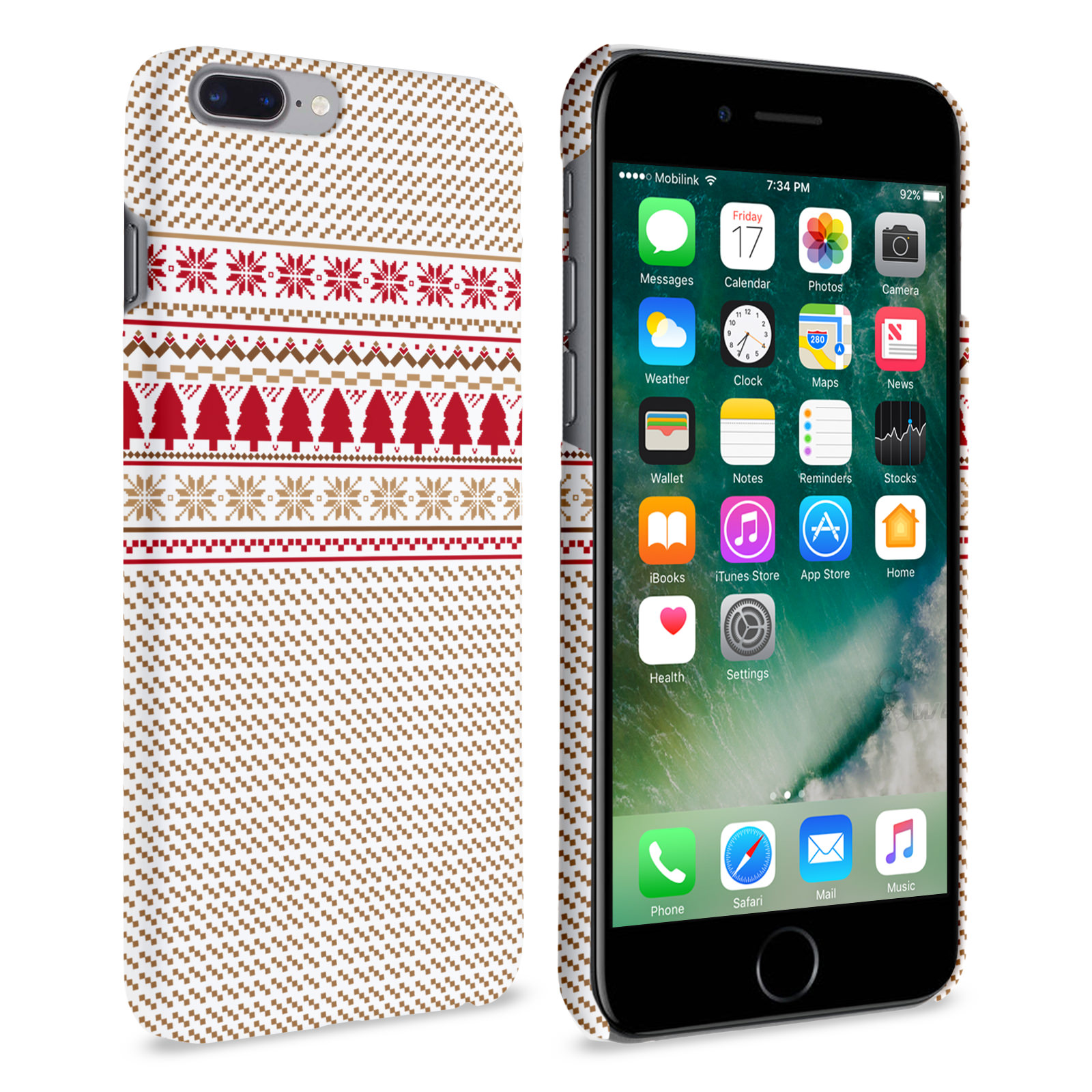 caseflex iphone 7 plus christmas knitted snowflake jumper brown red white case