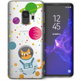 Samsung Galaxy S9 Astronaut Cat in Space TPU Gel Case - White