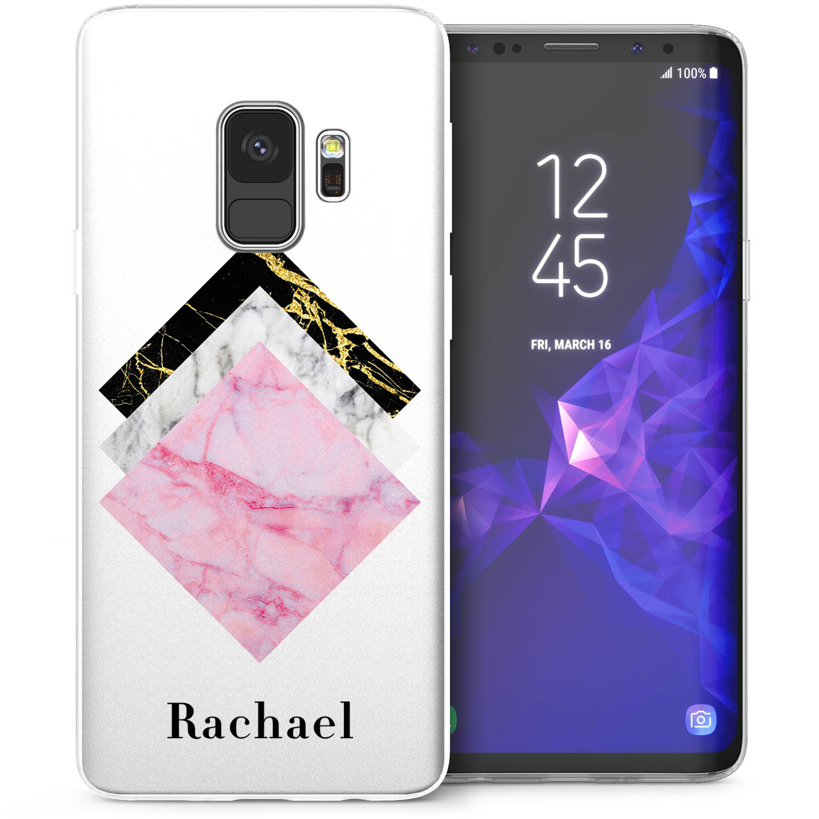 Samsung Galaxy S9 Marble Tiles Personalised Tpu Gel Case