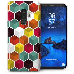 Samsung Galaxy S9 Plus 3D Geo Hexagon TPU Gel Case - White