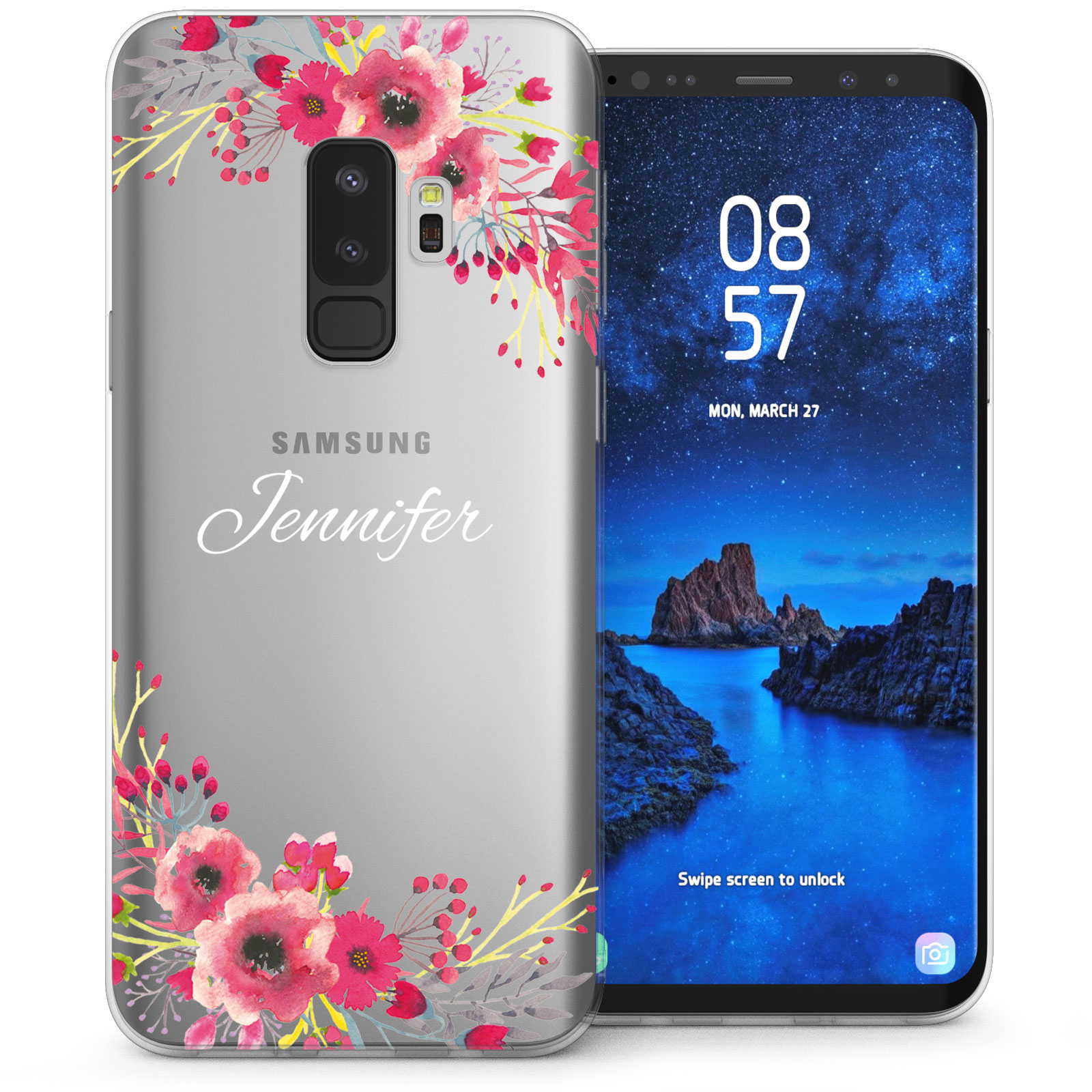 the best attitude 6684d 155cd Samsung Galaxy S9 Plus Floral Personalised TPU Gel Case - Clear