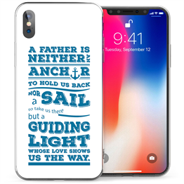 Apple iPhone X Dad Anchor Quote TPU Gel Case - Blue