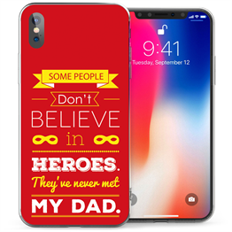Apple iPhone X Dad Heroes Quote TPU Gel Case - Red