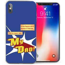 Apple iPhone X Dad Heroes TPU Gel Case - Blue