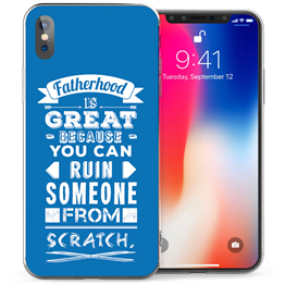 Apple iPhone X  Fatherhood Scratch Quote TPU Gel Case - Blue