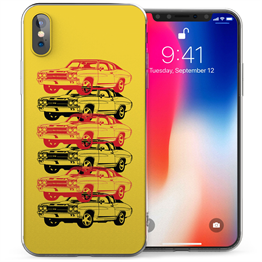 Apple iPhone X American Retro Sports Car TPU Gel Case - Yellow